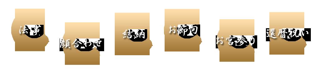 法事・顔合わせ・結納・初節句・お宮参り・還暦お祝い
